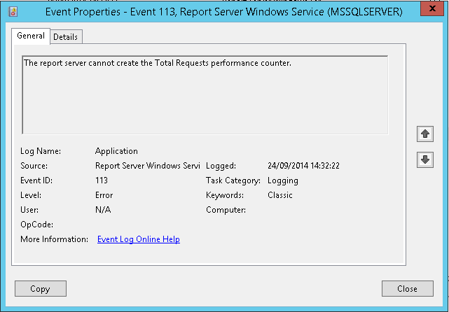 SQL Reporting Services Performance Counter Errors