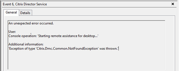 Citrix Shadowing Error 2